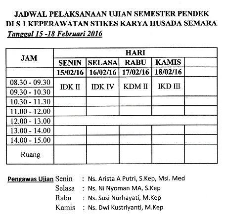Jadwal Pelaksanaan Ujian Semester Pendek